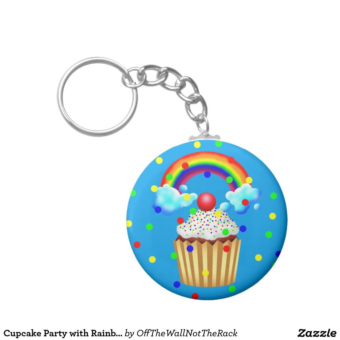 Cupcake Party with Rainbow & Sprinkles Keychain