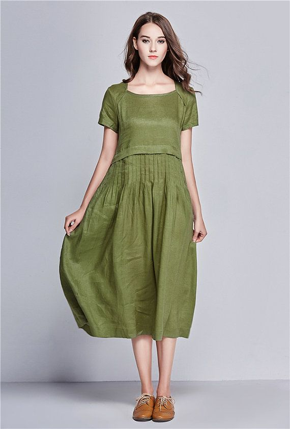 ded0d53470d Pleated Linen Dress in green   Long linen cocktail by camelliatune
