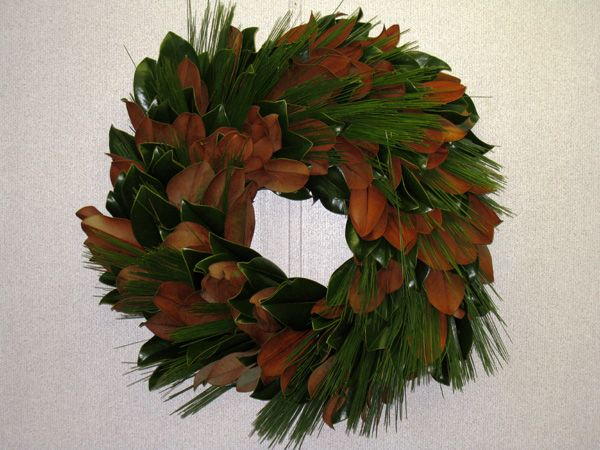 magnolia and pine wreath