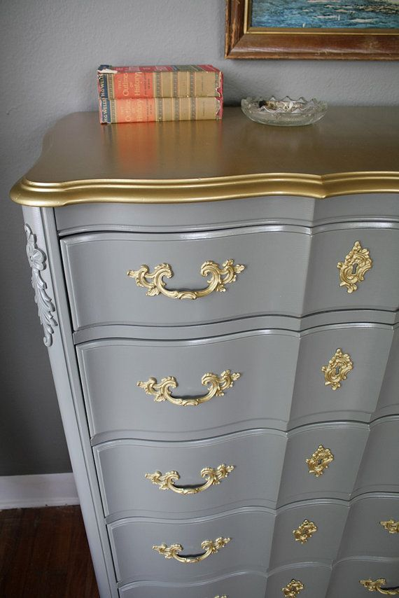 Sold gold detail french provincial set by hayleonvintage - Painted french provincial bedroom furniture ...