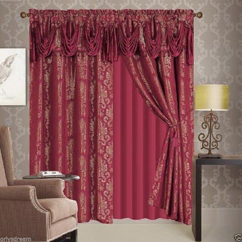 New 6 Pcs Victorian Style Jacquard Curtain Set 2 Panels