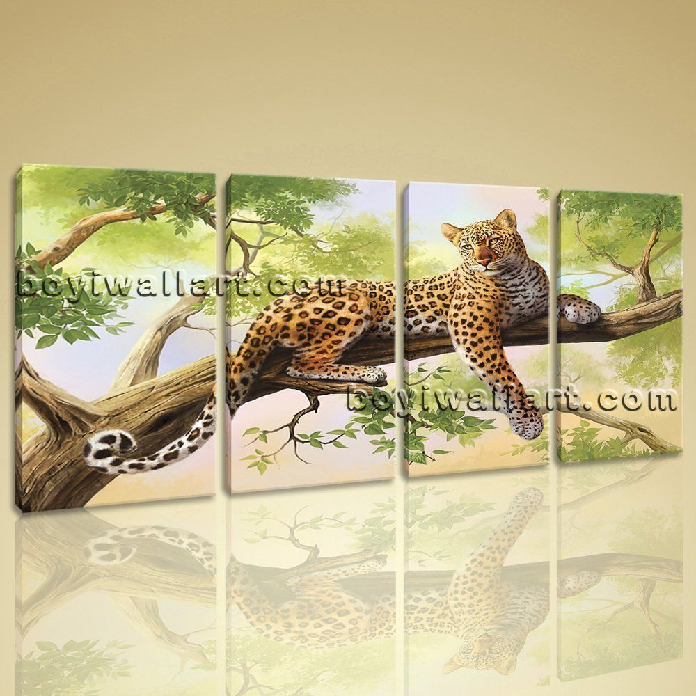 Large leopard animal paintings contemporary on canvas wall art