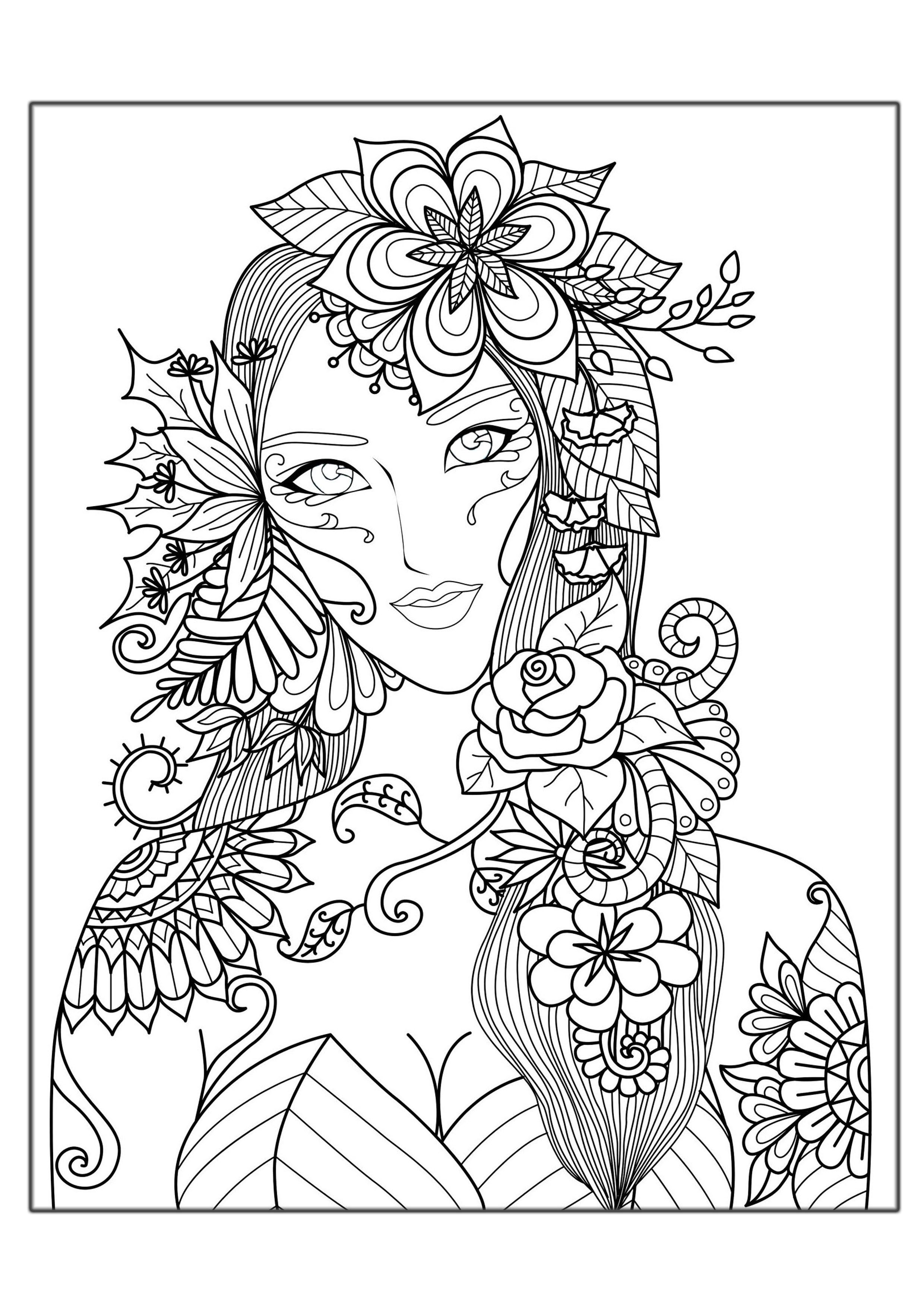 Coloring page adults woman flowers art drawing downloads