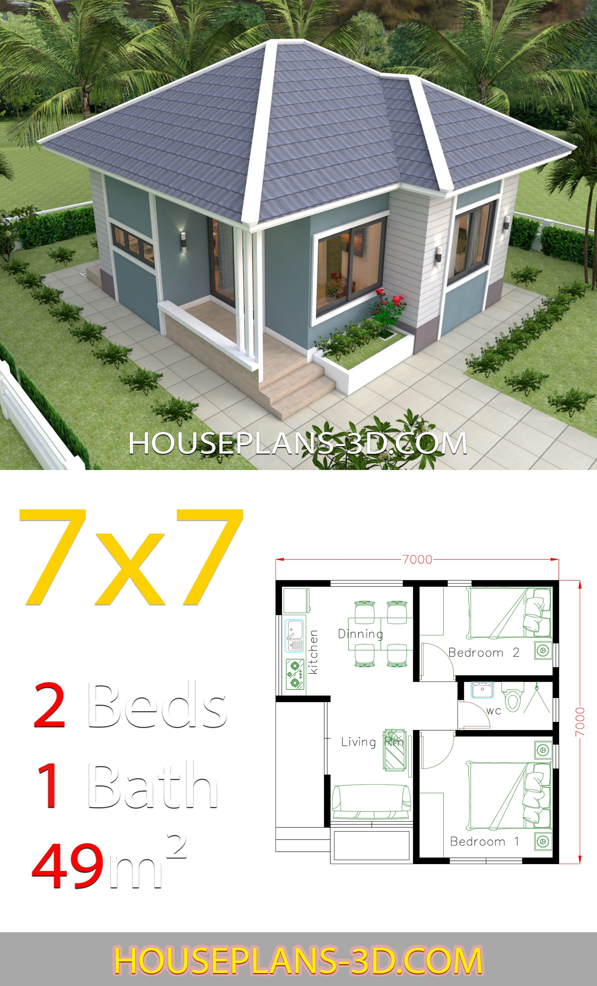 House Design Plans 7x7 With 2 Bedrooms House Plans 3d In 2020 Small House Design Plans House Plans Tiny House Design