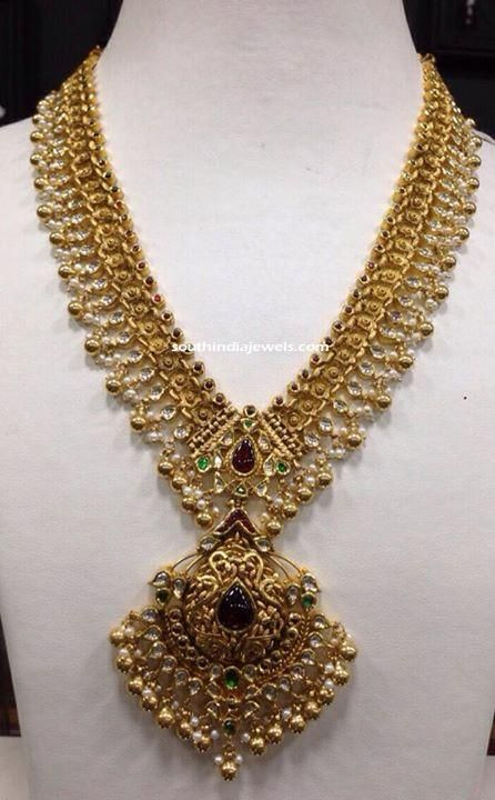 100 Grams Gold Antique Necklace Sbj Jpg 446 720 Gold Jewelry Fashion Gold Temple Jewellery Gold Jewellery Design Necklaces