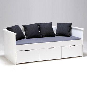 Lit Banquette 1 Personne Laqu Blanc Avec 3 Caissons 90x190 Cm Soizic Furniture Home Decor Banquette