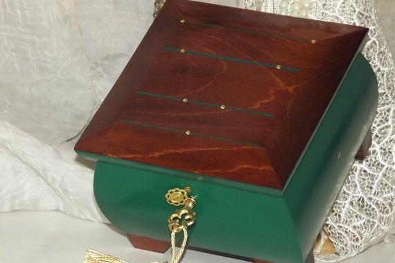 LOCKABLE Handmade wooden lock box. Emerald, Gold & Rosewood HAND MADE lock box  by DAWNaffirmationBoxes