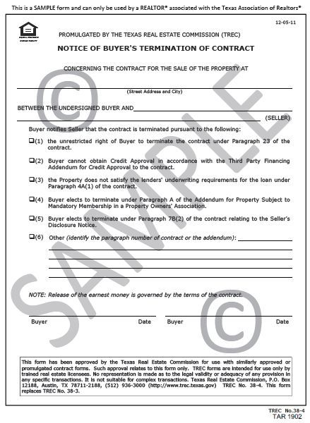 Tar 1902 Notice Of Termination Of Contract Buyers Agreement Form