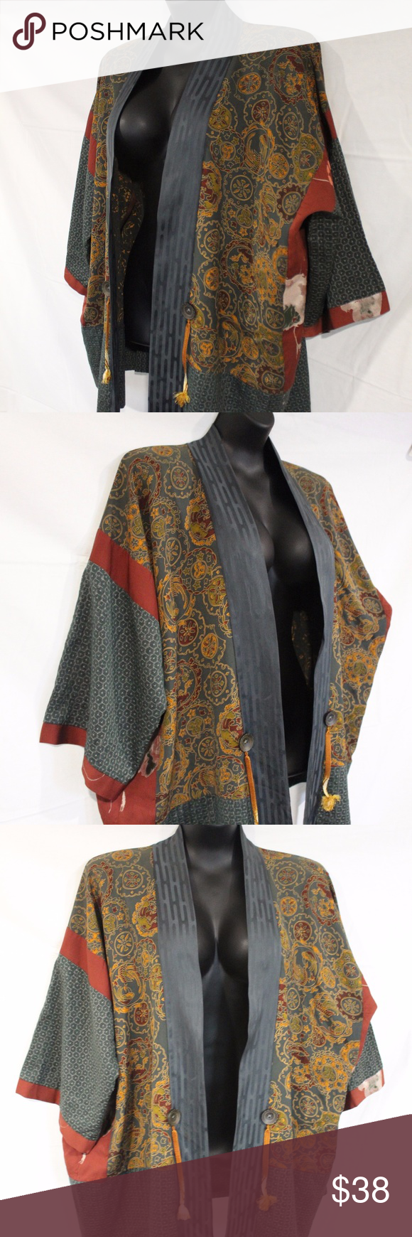 Kimono jacket japanese fabric womenus of a kind mixing prints