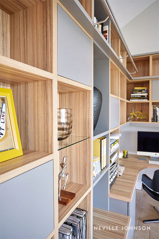 Home Library Furniture: Grey Modern Library & Home Office