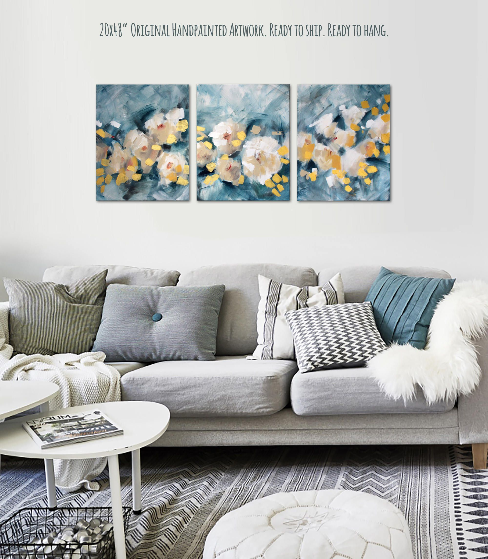 20x48 Teal Canvas Wall Art Gold