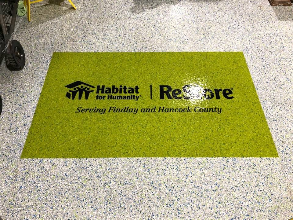 Commercial Epoxy Flake Flooring with Logo Findlay, OH in