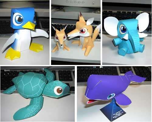 Cute Animal Papercraft Toys  Free Printable Pattern And Template