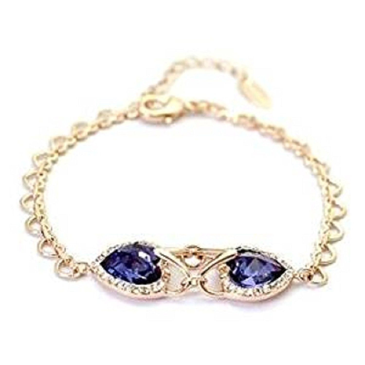 Bracelet with heart design goldplated with swarovski elements