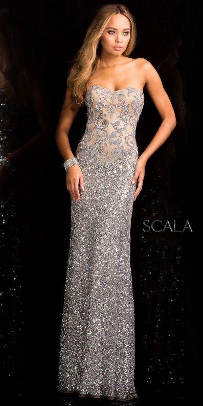 792f41a91f3 Scala Damask Sequin Motif Evening Dress