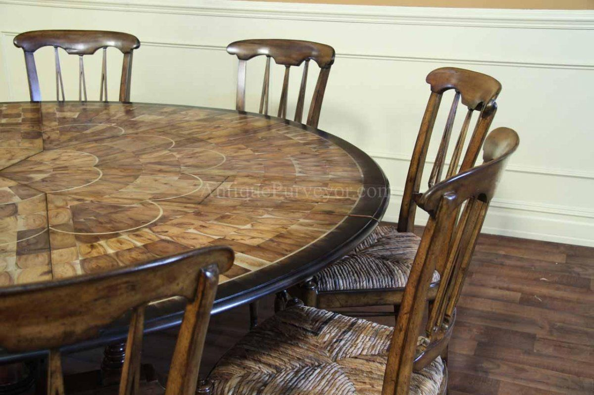 Rustic Dining Room Design With Large Round Walnut Dining Room