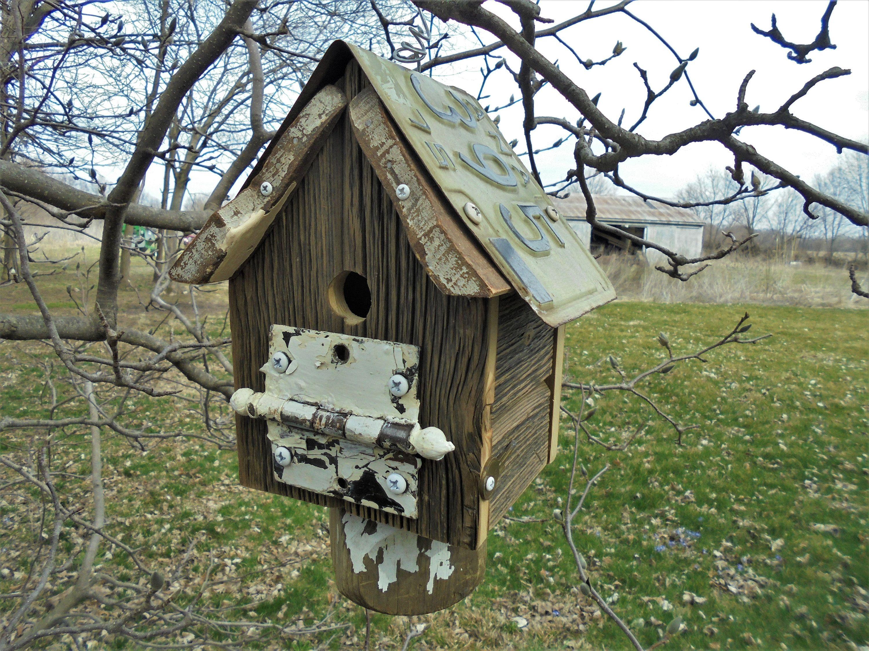 Barn Wood Birdhouse Salvage Wood and Metal Outdoor Cleanable Birdhouse Folk Art Farmhouse Garden Decor Yard Art Upcycle Repurpose & Barn Wood Birdhouse Salvage Wood and Metal Outdoor Cleanable ...