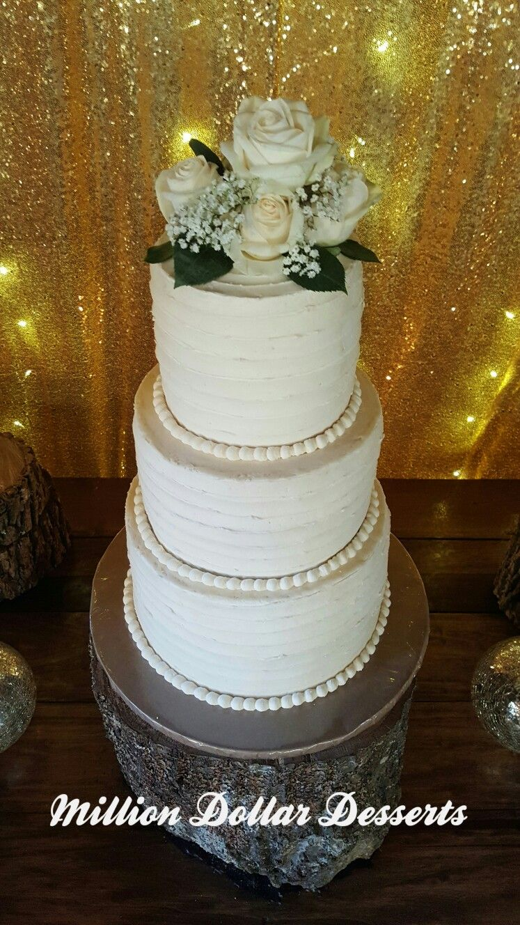 3 tier buttercream wedding cake! #simplyelegant