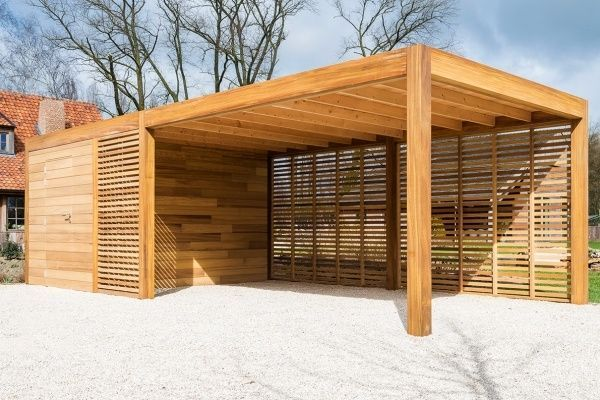 Wooden carport or garage with storage room or bicycle storage room – manufacturer Car …, #Abstel …  – draußen