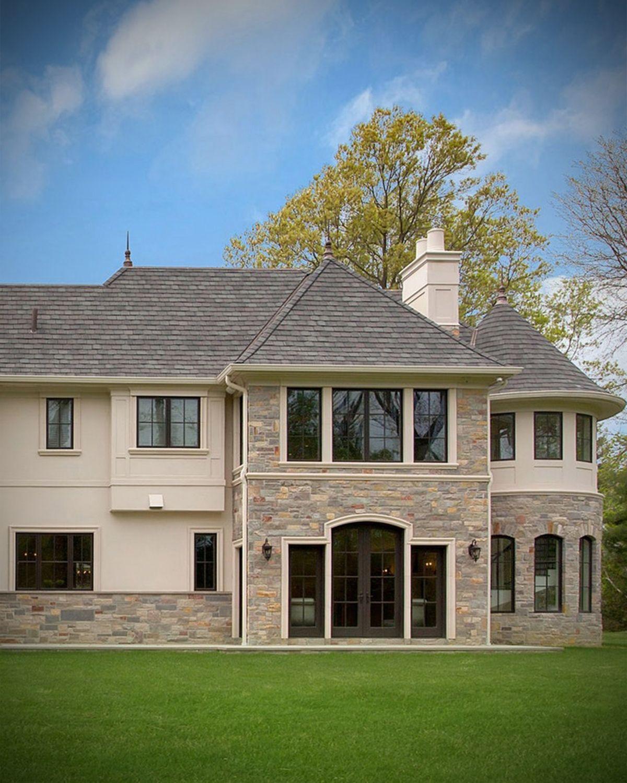 Modern Luxury Home Exterior Veneer Stone Facade Architecture Design In 2020 Facade Architecture Design Luxury Homes Exterior House Exterior