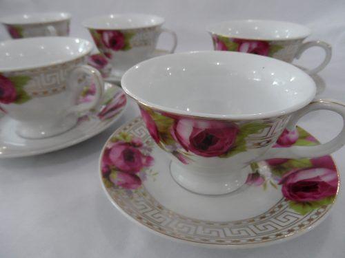 Jogo De Cha Em Porcelana Floral R 189 00 Jogo De Cha Porcelana Floral