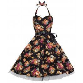 LINDY BOP 'BONNIE' VINTAGE 1950's HALTER NECK FLORAL SPRING GARDEN SWING DRESS - Available In Black Floral, Pink Floral or Blue Floral