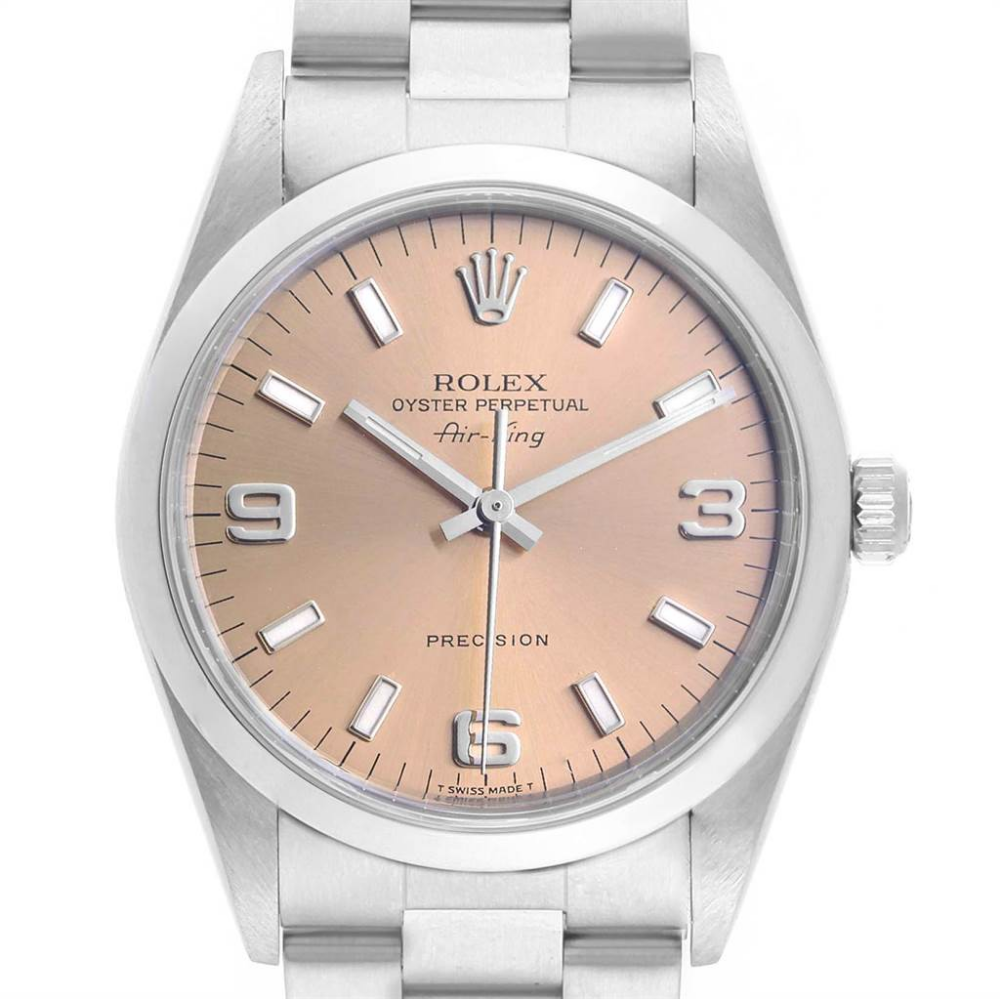Rolex Air King 34 Salmon Dial Smooth Bezel Steel Unisex