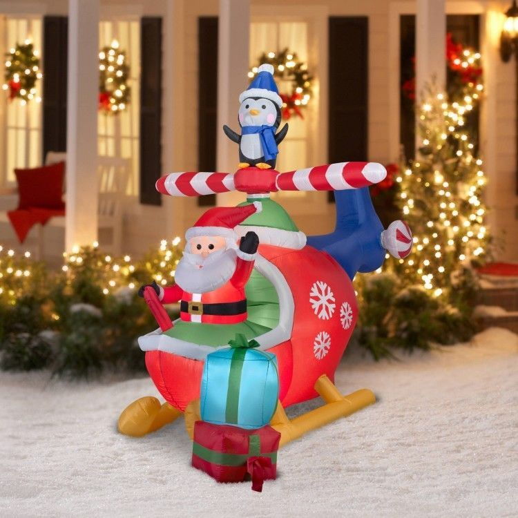Christmas santa helicopter airblown inflatable 8 ft outdoor lighted christmas santa helicopter airblown inflatable 8 ft outdoor lighted xmas decor easyshopping08 aloadofball Image collections