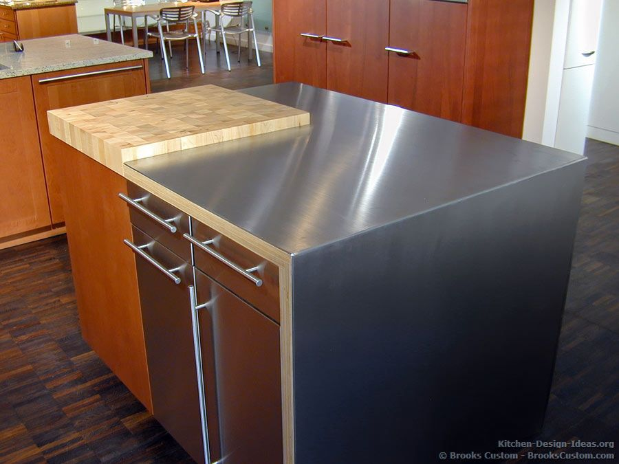 Stainless Steel Countertops Features A Combination And Butcher Block Countertop