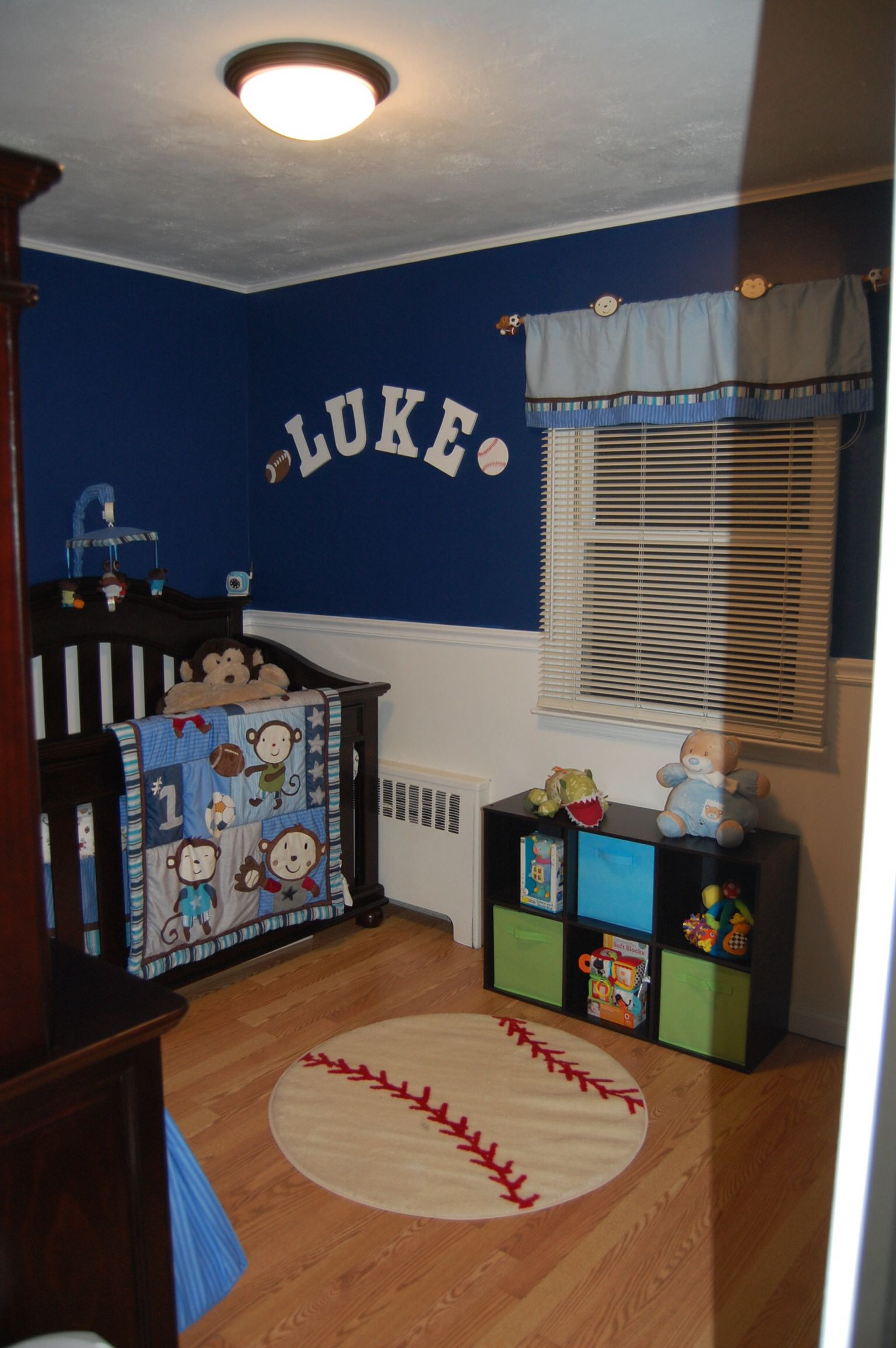 Baby boy room decor pinterest - Baby Boy Nursery Sports Monkey Blue