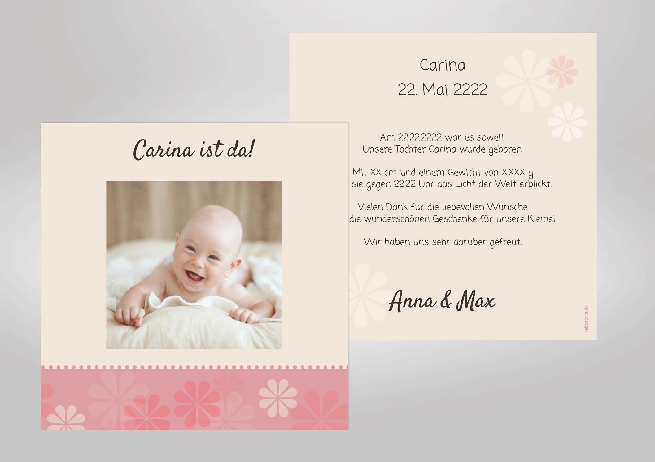 Danksagung Zur Geburt Hochwertige Geburtskarte Mit Kleinen Blumchen Zum Selbst Gestalten Hochwertig Gedruckt Geburtskarten Zur Geburt Danksagung Geburt
