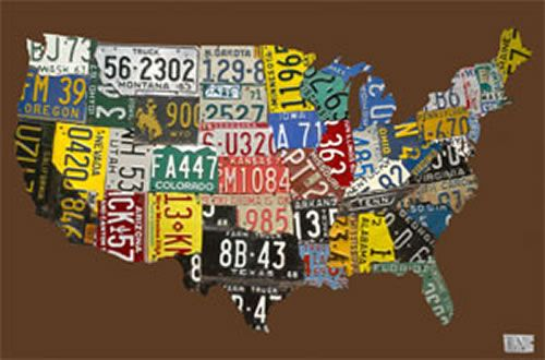 USA License Plate Map - Chocolate Canvas Wall Art | License plates ...