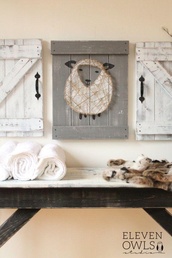 Sheep Nursery Decor 3 Pc Set Lamb Art Rustic Above The Crib Boy