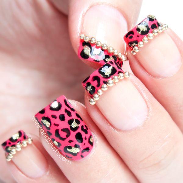 Diy Snow Leopard Nail Art: Pink & Gold Leopard Print French Tips Nail Art Tutorial