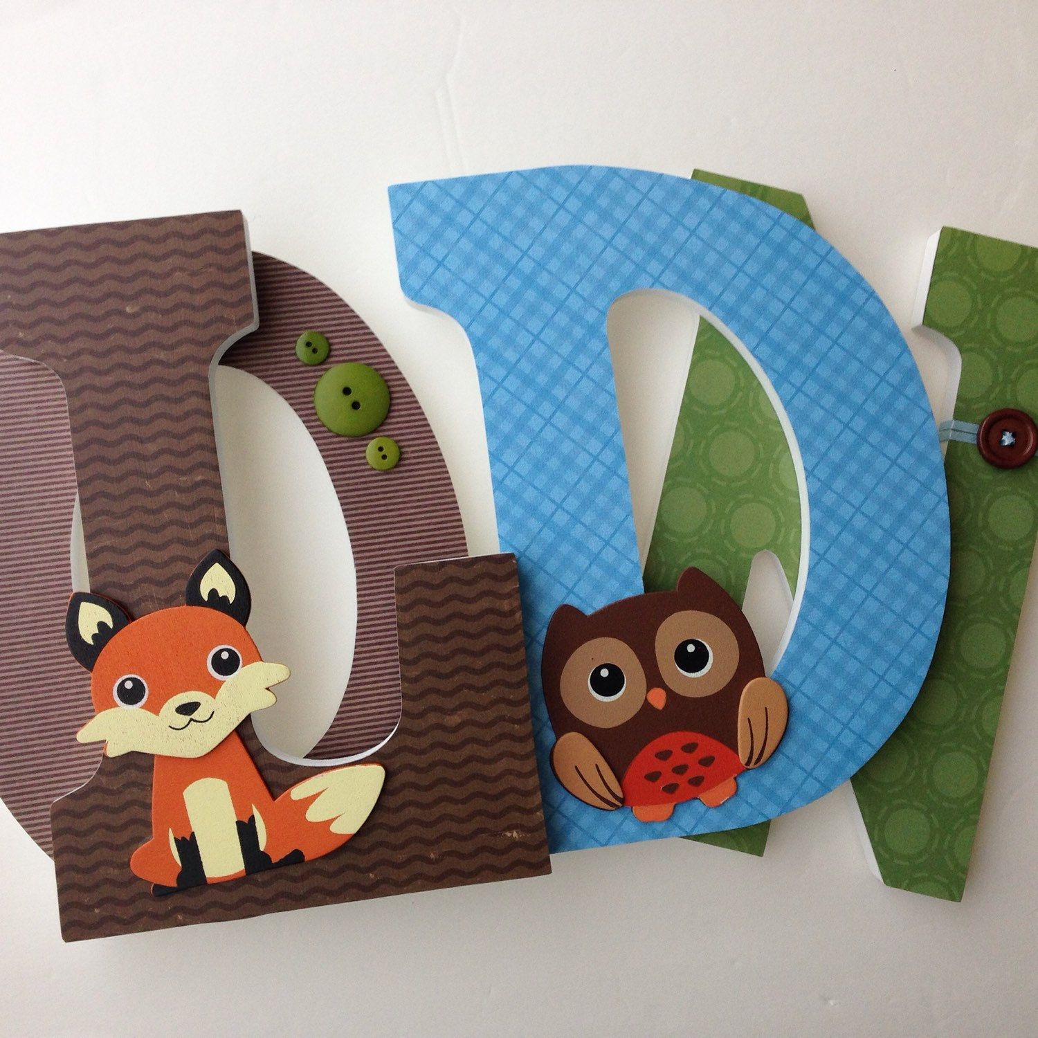 Fox And Owl Woodland Custom Decorated Wooden Letters
