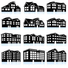3d House And Apartment Complex Black White Icon Set Vector Art Illustration Vector Art Illustration Icon Set Vector Black And White