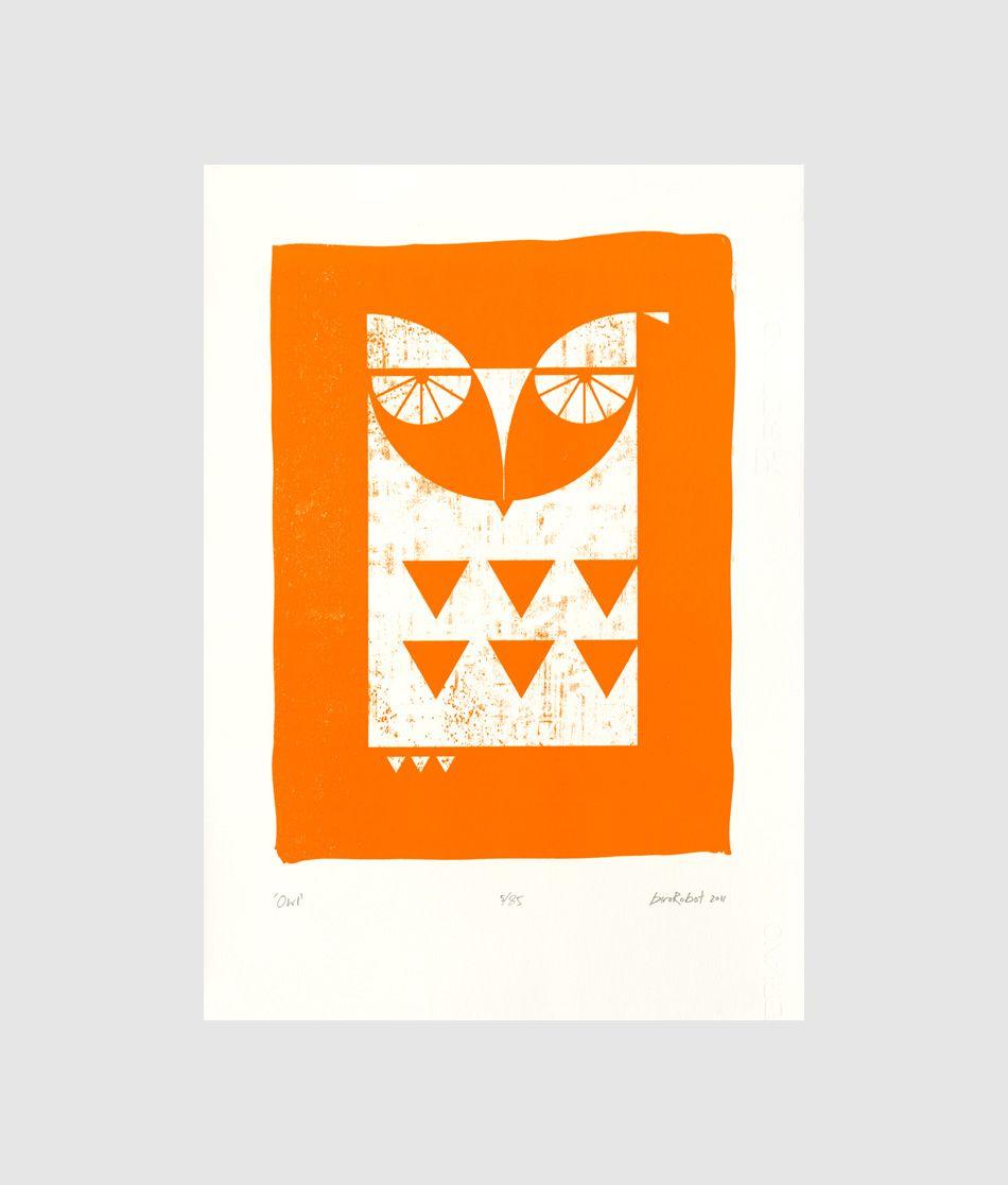 Owl by birorobot limited edition screen print whoooo whoooo