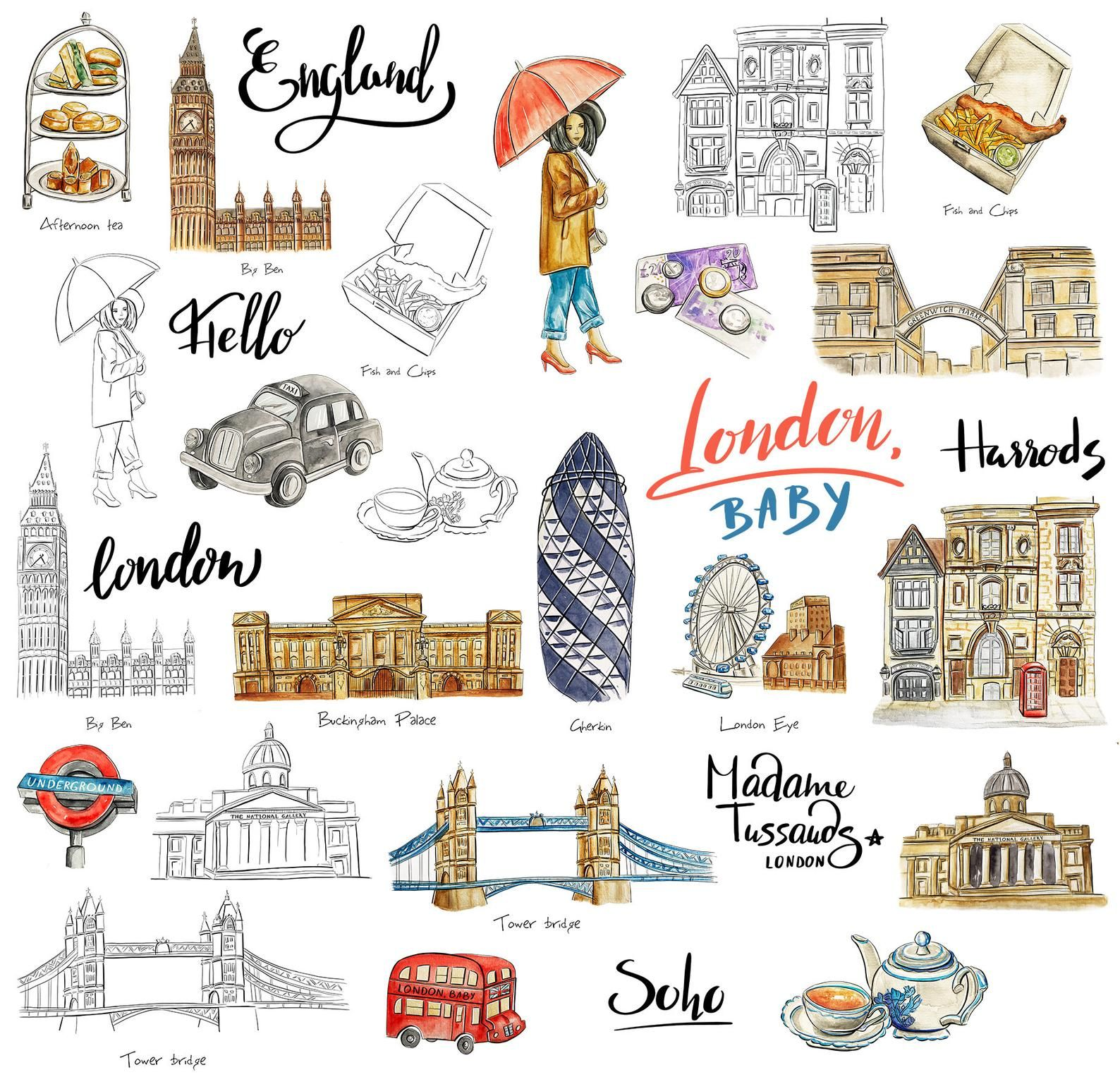 Travel Around The World Watercolor Building Decor Adhesive Stickers DIY Diary UK