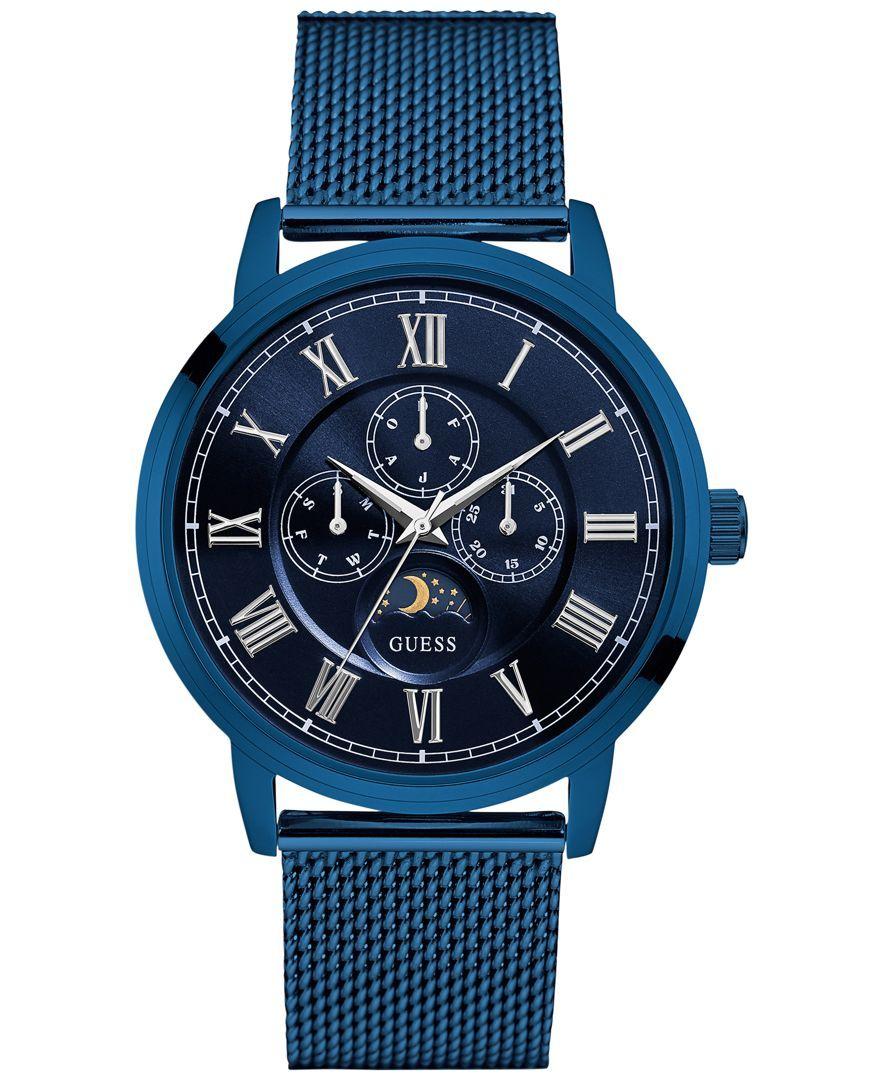 Guess Men's Multifunction Blue Stainless Steel Bracelet Watch 43mm U0871G3