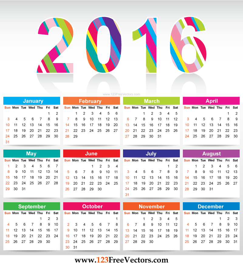Free Download Printable Colorful Calendar 2016 Vector Template – Free Office Calendar