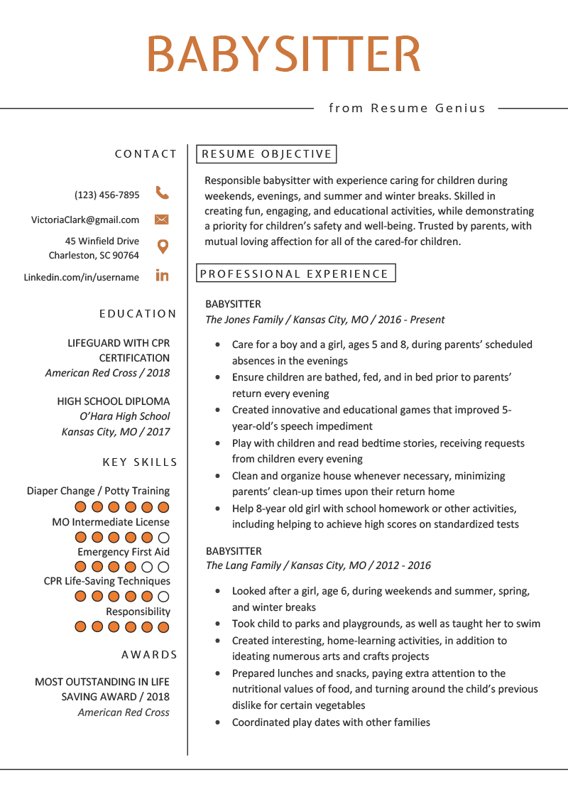 Babysitter Resume Example & Writing Guide Resume Genius