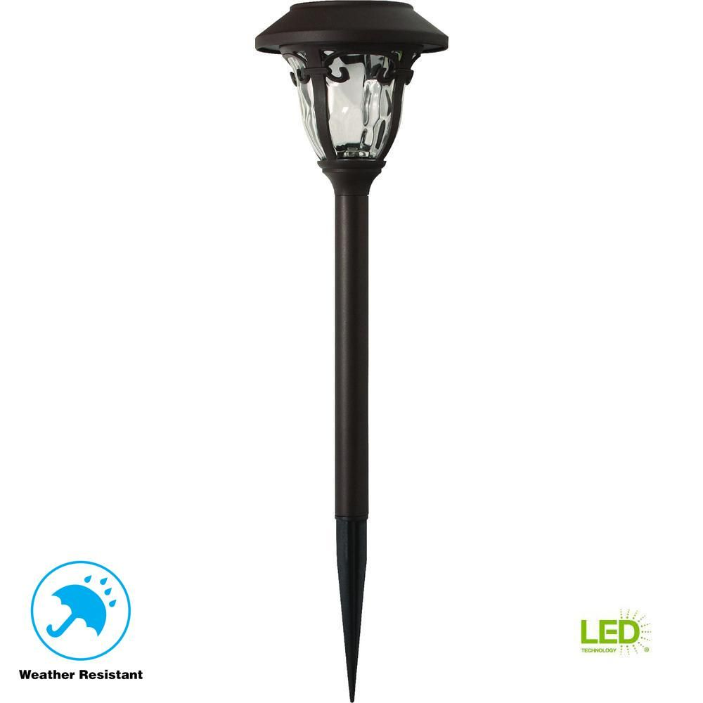 Solar Bronze Outdoor Integrated Led 3000k 10 Lumens Metal And Glass Landscape Solar Path Lights Hampton Bay Pathway Lighting