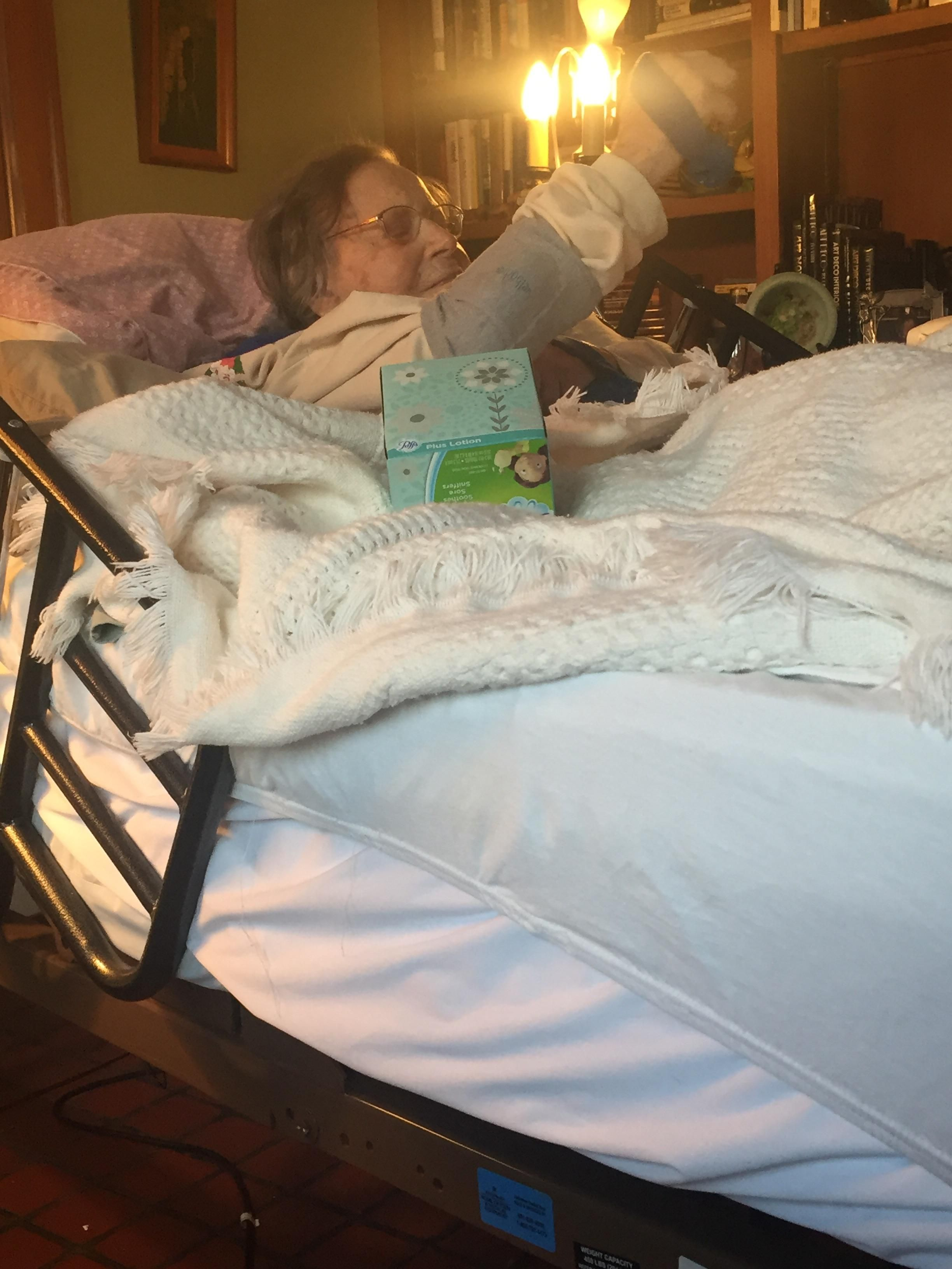 My 104 year old relative exercising in bed! :)
