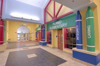 elemantary school display cases | An interior hallway in ...
