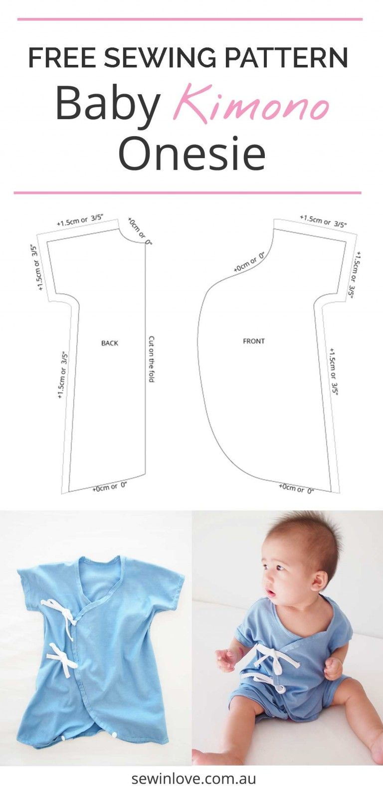 Another Baby Kimono Sewing Pattern - Onesie Version   baby clothes ...