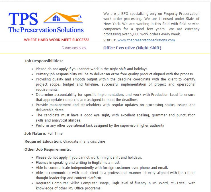 The Preservation Solutions Office Executive Job Circular Salary