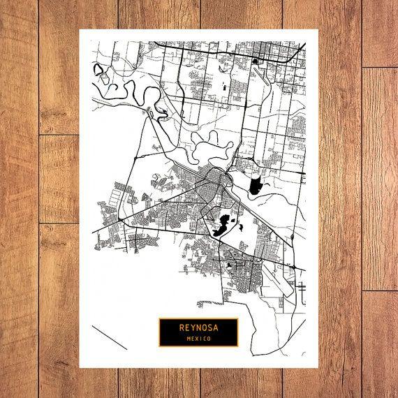 REYNOSA Mexico CANVAS Large Art City Map Reynosa by JackTravelMap