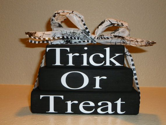 Halloween Trick or Treat Wood Stacked Blocks by LisasLittleJoys - halloween crafts decorations