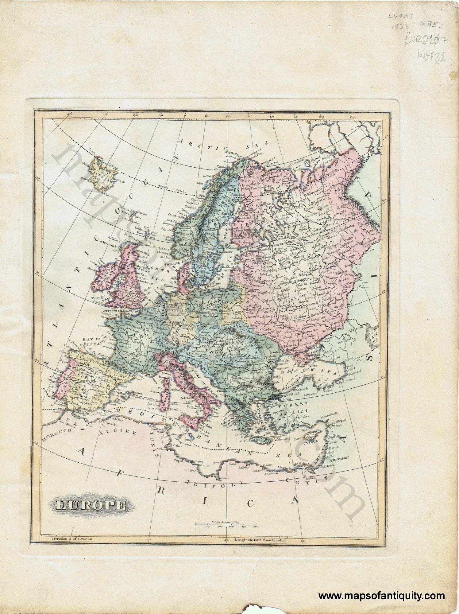 Crete Map Print circa 100 years old Map of Crete x