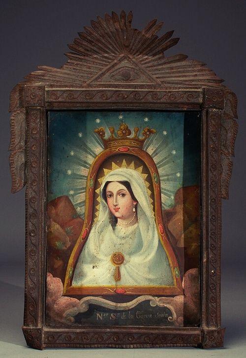 Anónimo novohispano-mexicano, Virgen de la Cueva Santa, óleo sobre ¿lámina de cobre?, sin medidas, ca. 1800-25, colección no identificada, catalogación: Juan Carlos Cancino.